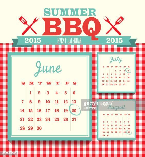 picnic event 2015 calendar design template june - weekday stock illustrations