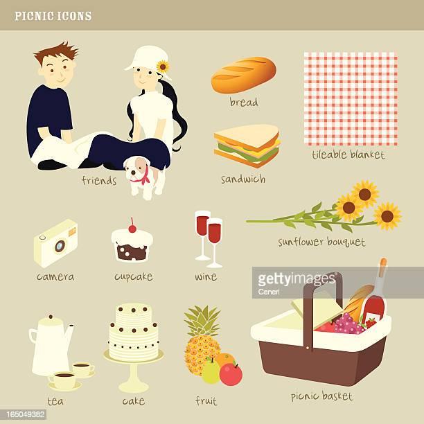 picnic icons - basket stock illustrations, clip art, cartoons, & icons