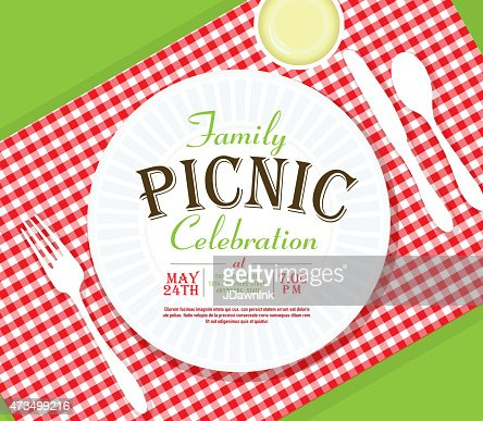 Picnic Invitation Design Template Angle Placesetting Vector Art