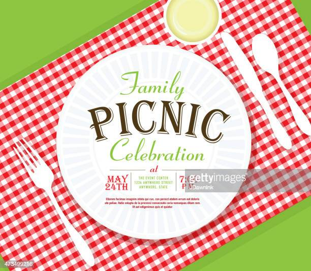 picnic invitation design template angle placesetting - picnic stock illustrations