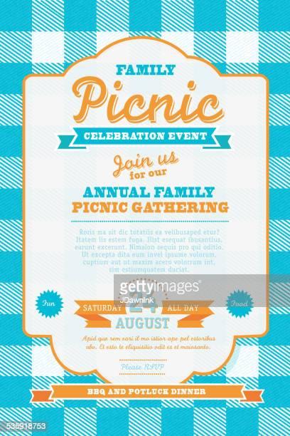 ピクニック招待状のデザインテンプレートブルーとオレンジ - ポットラック点のイラスト素材/クリップアート素材/マンガ素材/アイコン素材