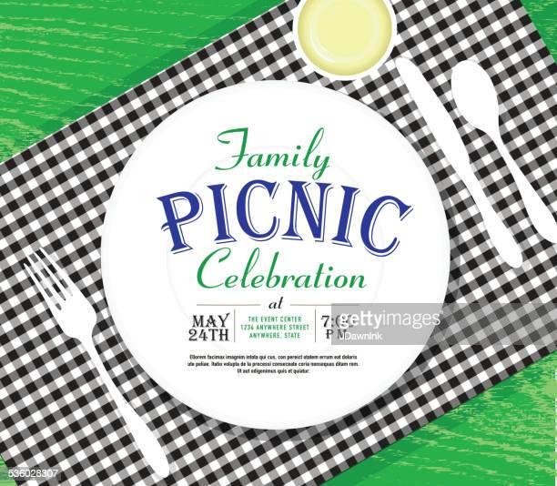 picnic invitation design template bright green background