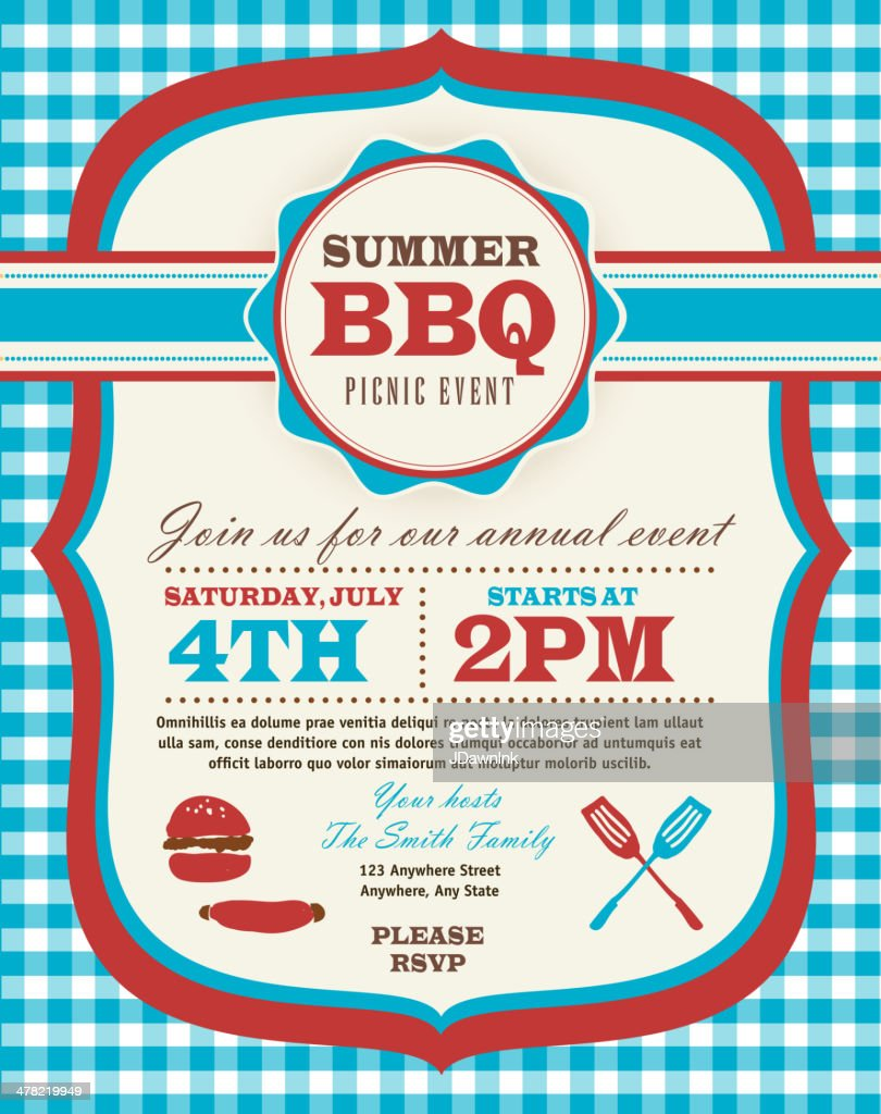 Picnic invitation design template Fourth of July theme