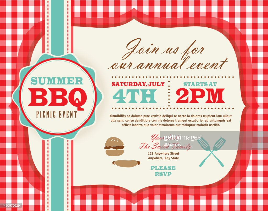 Picnic invitation design template horizontal red and teal cute