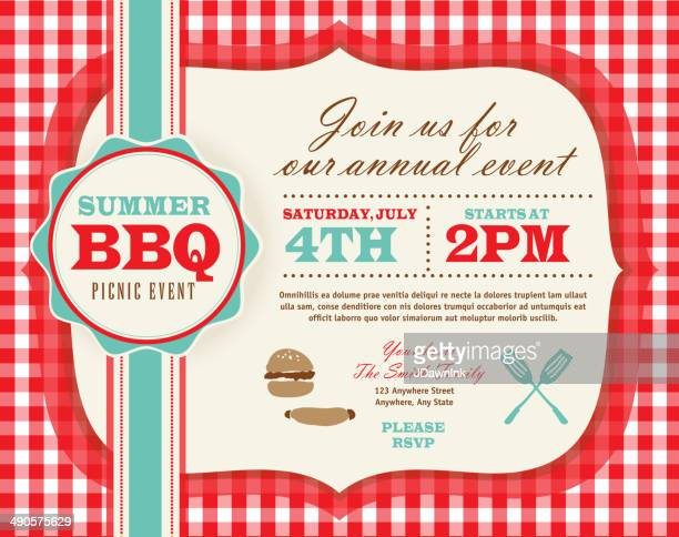 picnic invitation design template horizontal red and teal cute - picnic stock illustrations