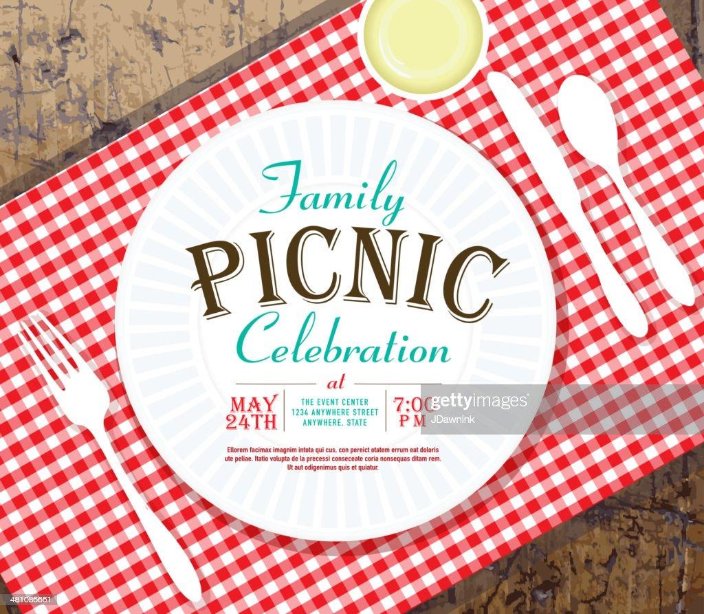 picnic invitation design template on rustic wooden