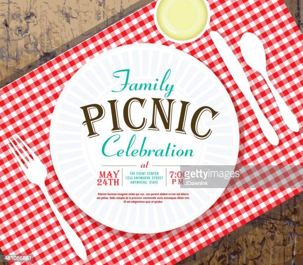 picnic invitation design template on rustic wooden background - tablecloth stock illustrations, clip art, cartoons, & icons