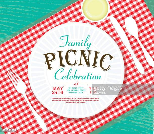 picnic invitation design template on teal wood - picnic stock illustrations