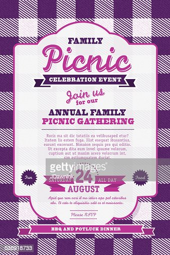 Picnic Or Bbq Invitation Design Template Orange And Blue Vector Art