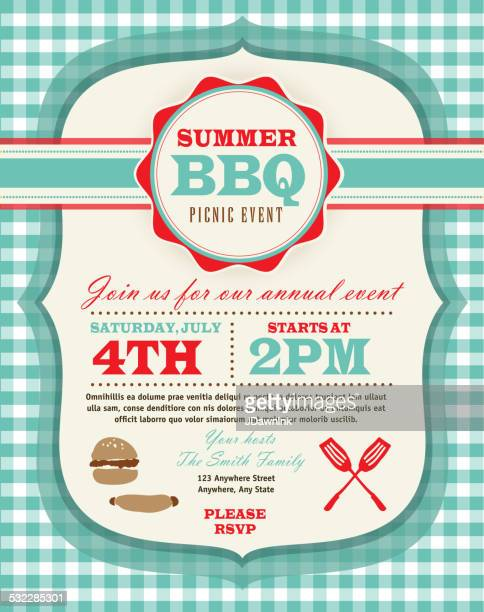 picnic invitation design template - tablecloth stock illustrations, clip art, cartoons, & icons