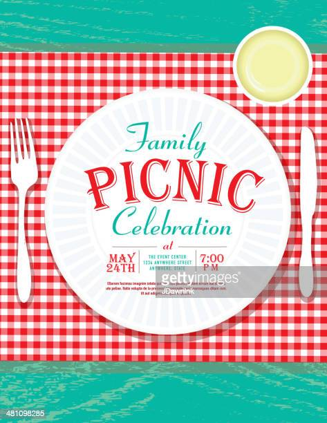 Family picnic vector art and graphics getty images picnic invitation design template with plastic cutlery and paper plate stopboris Choice Image