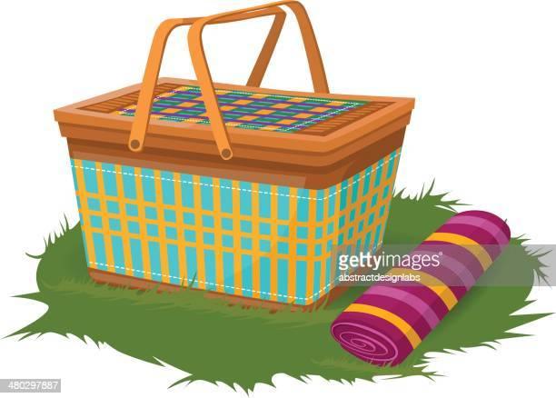 picnic kit - picnic blanket stock illustrations, clip art, cartoons, & icons