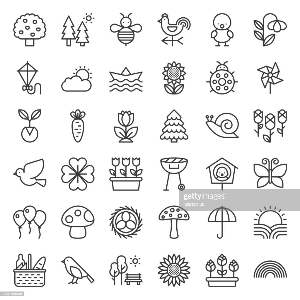 Picnic, nature and spring icon set, such as picnic basket, floral, bird, rainbow, bird nest, playing kite, sun raising, outline icon