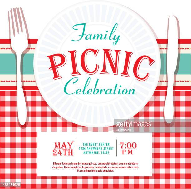 picnic or barbecue family fun event invitation design template - tablecloth stock illustrations, clip art, cartoons, & icons