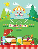 Picnic party landscape in flat style. Vector picnic elements collection