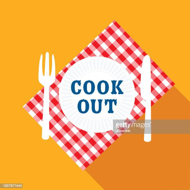 Picnic place setting Flat Design BBQ or barbecue  themed Icon with shadow