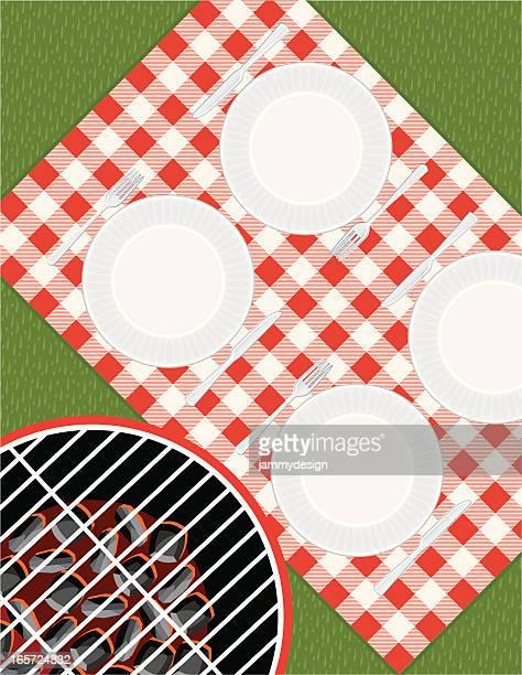 picnic setting - tablecloth stock illustrations, clip art, cartoons, & icons