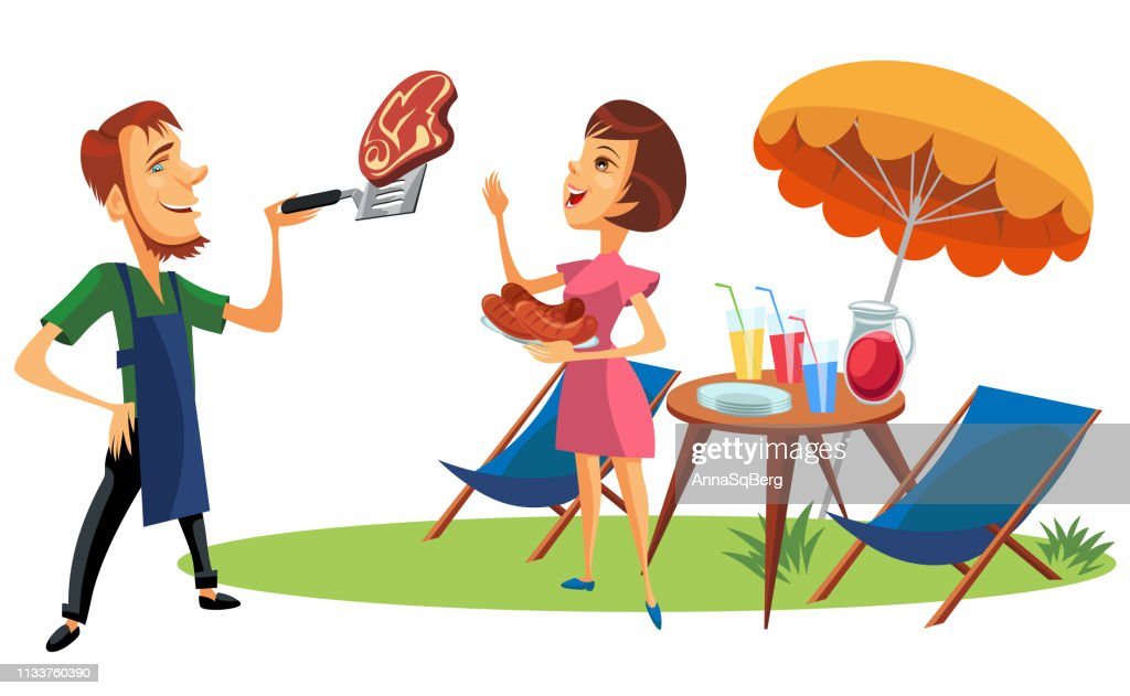 Picnic summer holiday and vacation time poster. Woman looking at meat steak placed on spatula holding plate with roasted sausages. Cocktails and beverages with straws in glasses