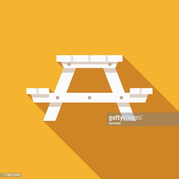 picnic table camping icon - outdoors stock illustrations
