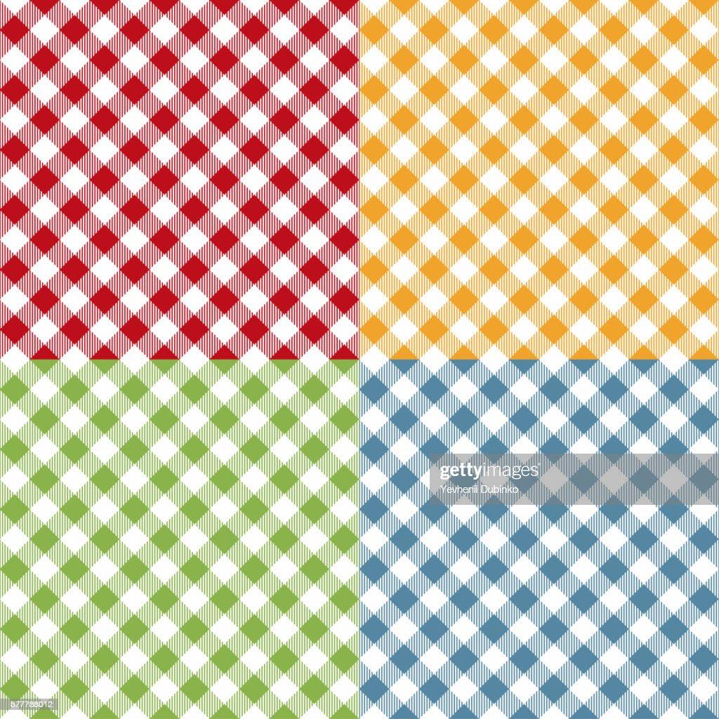Picnic table cloth seamless pattern set. Picnic plaid texture