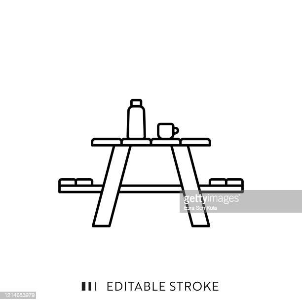 picnic table line icon with editable stroke and pixel perfect. - picnic table stock illustrations