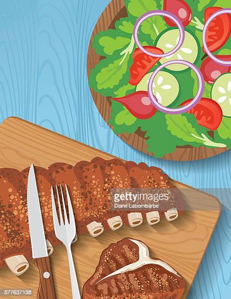 picnic table with bbq foods on a picnic table - steak plate stock illustrations, clip art, cartoons, & icons