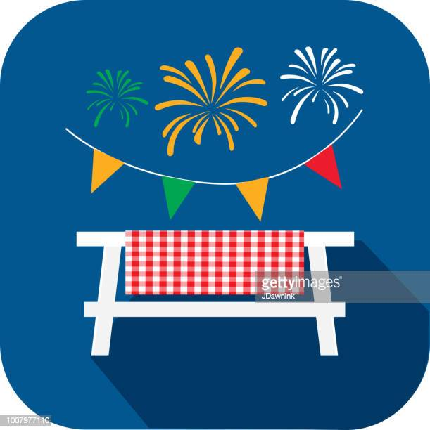 picnic table with fireworks and bunting. flat design bbq or barbecue  themed icon with shadow - tablecloth stock illustrations, clip art, cartoons, & icons