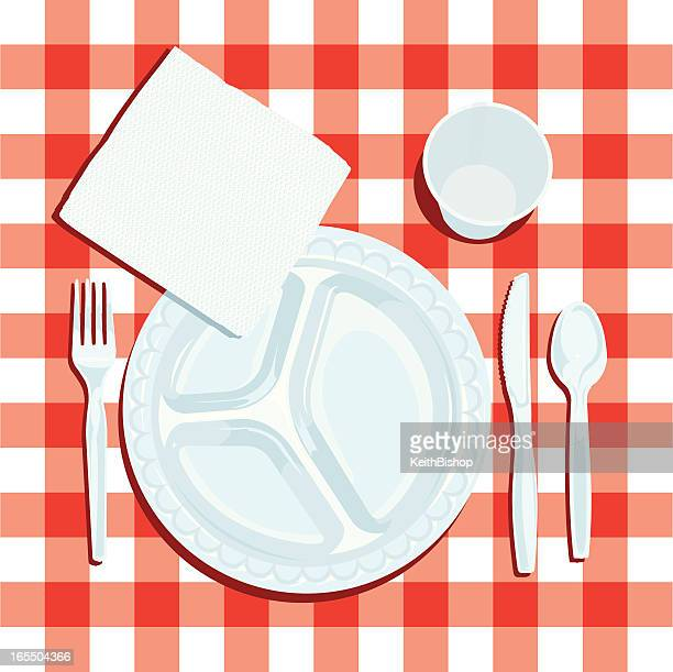 Picnic Table with Napkin, Plate and Silverware