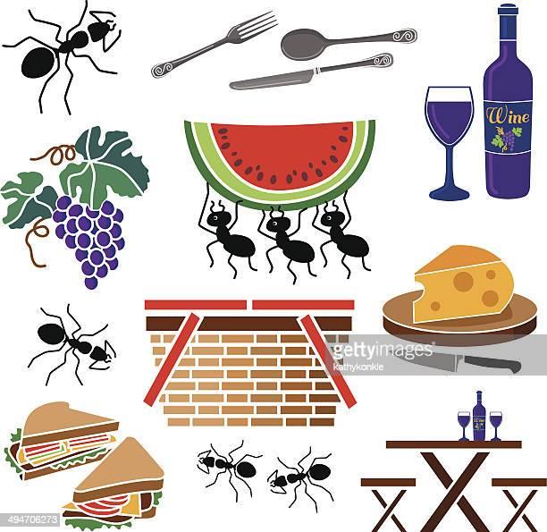 ilustraciones, imágenes clip art, dibujos animados e iconos de stock de picnic con ants - hormiga