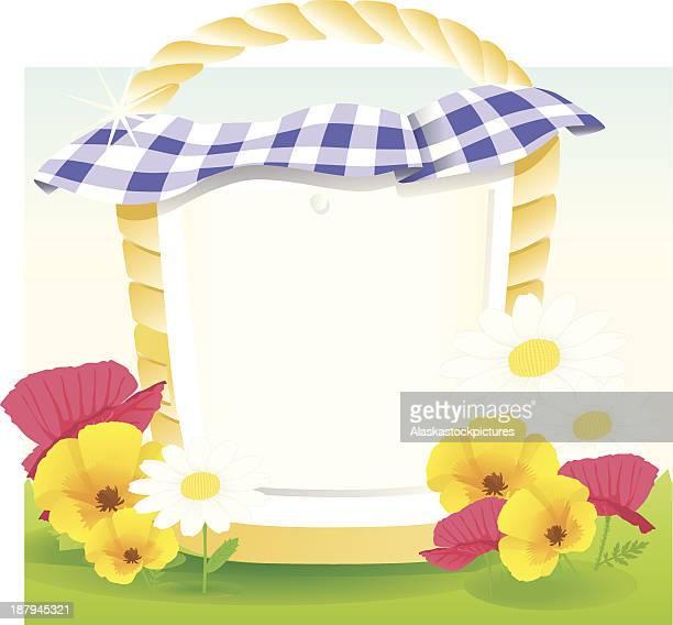 picnicbasket bluewhite caro. - picnic blanket stock illustrations, clip art, cartoons, & icons