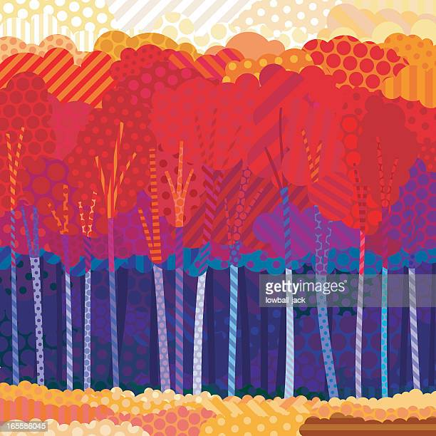 Picture created from dots depicting an autumn forest
