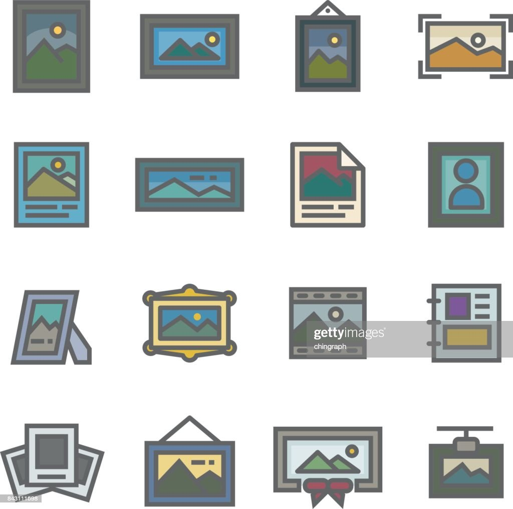 picture frame image line icon set vector