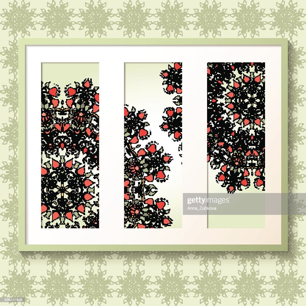 3D picture frame with round floral ornaments