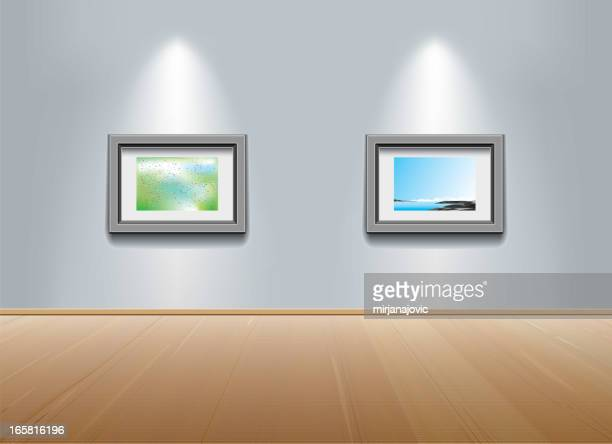 Picture frames on the wall at art gallery