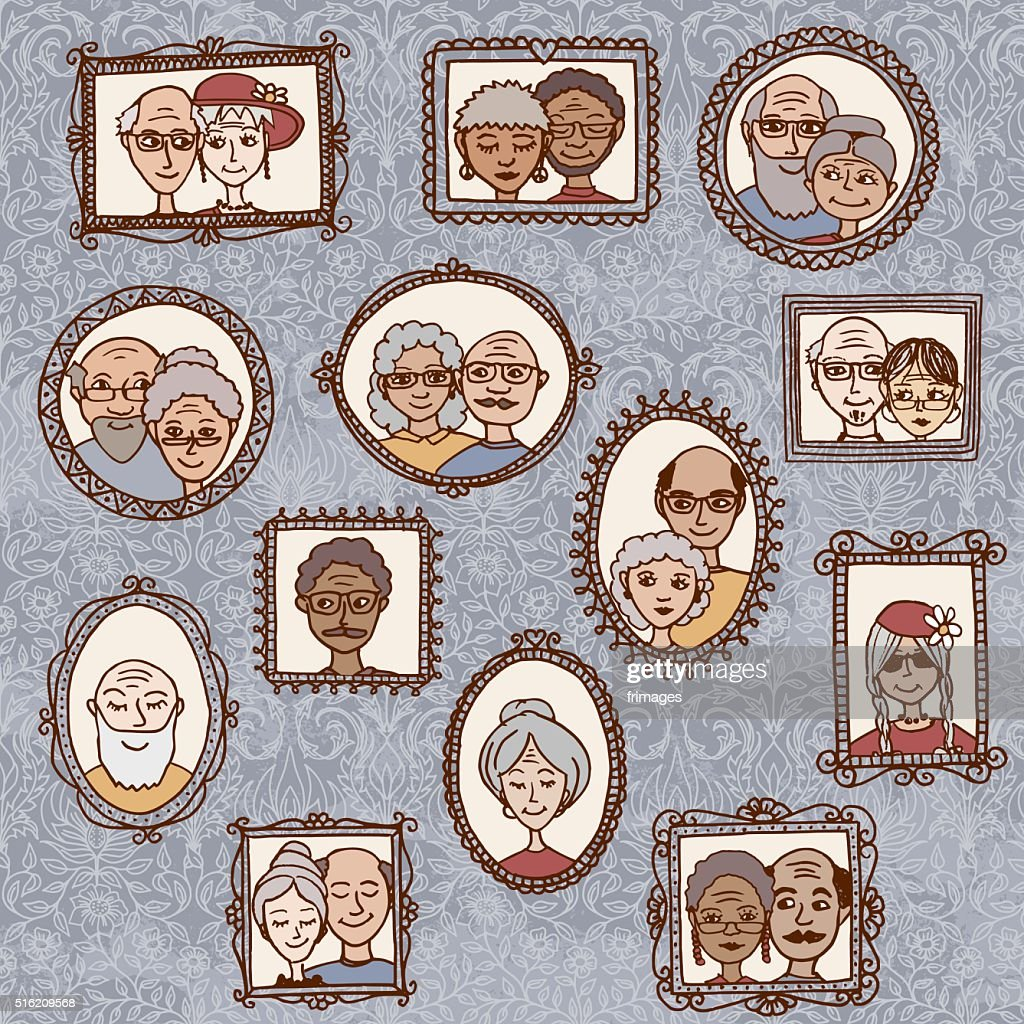 Picture frames with portraits of elderly people