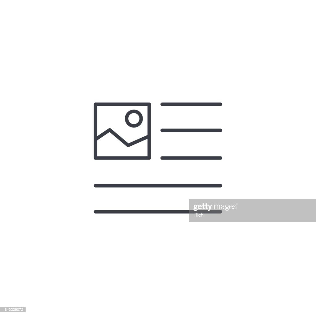 picture, image and text content, newspaper article thin line icon. Linear vector symbol