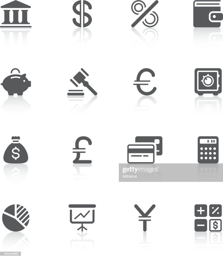 A picture of a variety of finance icons