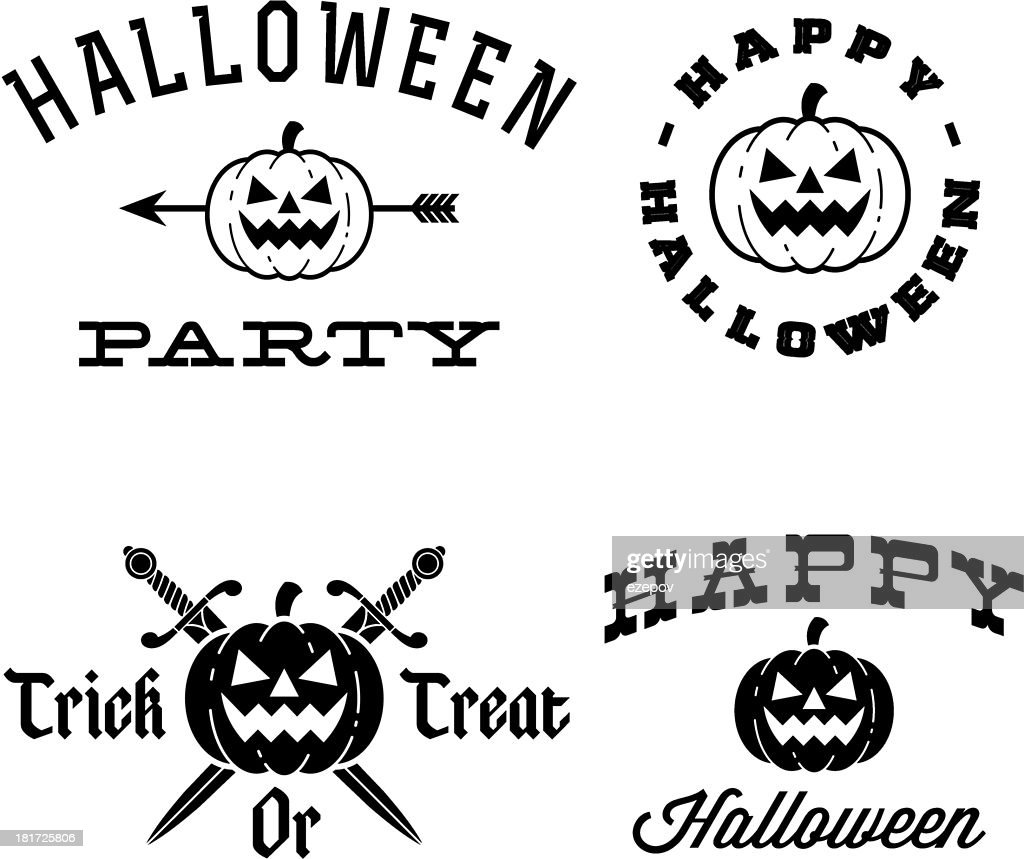 A picture of black and white Halloween themes