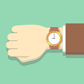 Picture of businessman in suit with watch. Hand, clock isolated