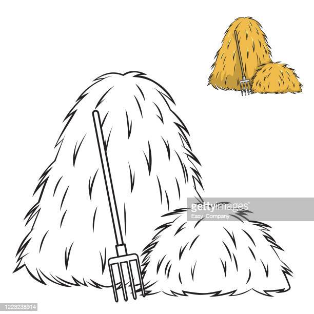 picture of hay illustration related to livestock is a black and white picture for children to paint used for teaching aids assembling children's books or use for teachers to teach. - exercise book stock illustrations