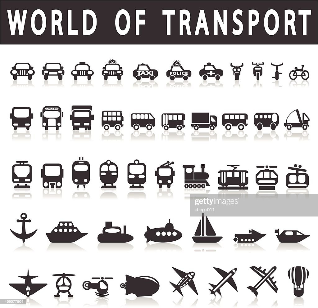 A picture of icons to represent modes of transport