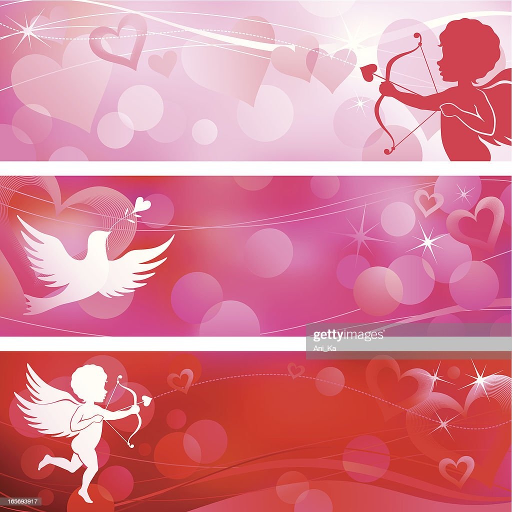 A picture of pink and red valentines banners : Vector Art