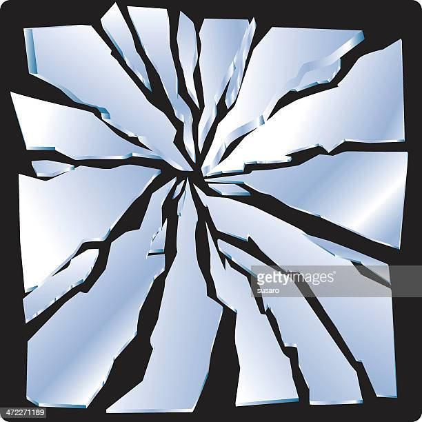 picture of some broken glass on a black background  - cracked stock illustrations