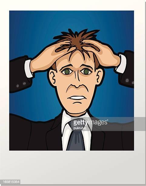 ilustraciones, imágenes clip art, dibujos animados e iconos de stock de fotografía de estrés - tirarse de los pelos
