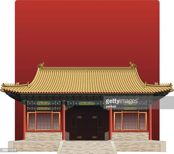 picture of the forbidden city from china on a red background - temple building stock illustrations, clip art, cartoons, & icons