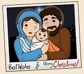 Picture of the Holy Family Wishing You a Merry Christmas