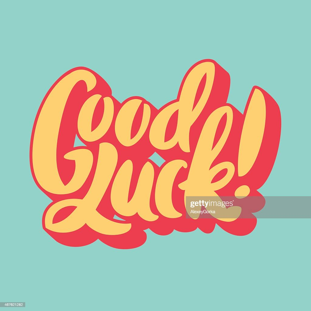 Picture of the words Good Luck on a light green background