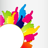 Picture of thumbs up in different colors around half circle