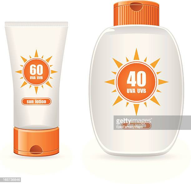A picture of two sun lotion containers