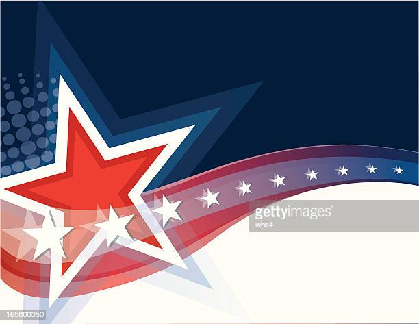 a picture showing red, white, and blue stars and stripes  - political rally stock illustrations, clip art, cartoons, & icons